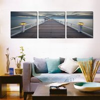 Wholesale 3 Pieces Modern Painting Picture Paint on Canvas Prints sea Fruits wooden pier Bridge strawberry orange petal peach grapefruit Cherry tree