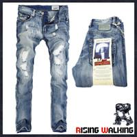 iş rahat erkekler kot pantolon toptan satış-Toptan İtalya Moda Tasarımcısı erkek Kot Marka Erkekler Rahat Iş Pantolon Için Yırtık Kot