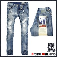 Wholesale business casual pants - Wholesale Italy Fashion Designer Men's Jeans Brand Ripped Jeans For Men Casual Business Pants