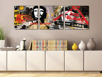 Wholesale New York Paint - 3 Pieces Free shipping Wall Painting Art Picture Paint on Canvas Prints Che Guevara New York city dark ewspaper Petronas TwinTowers