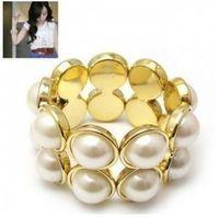 Wholesale Pearl Bracelet South Korea - Min order is $6 ( mix order )South Korea Elegant double row full big pearl stretch elastic bracelets