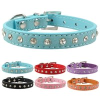 Wholesale Pet Cat Dog Collar - 6 colors XS S softer seude Leather Dog Collars Rhinestone cat collar for Small pet Puppy Collars