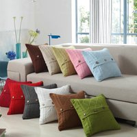 Wholesale home design colors - Square Pillowslip Creative Design Buttons Cushion Cover Cotton Knitting Pillow Case For Home Decorate Multi Colors 22nw C R