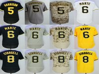 Wholesale Womens Orange Camo - Mens Womens Kids Toddlers Pittsburgh 5 Harrison 6 Marte 8 WILLIE STARGELL Black Grey Camo White Yellow Baseball Jerseys