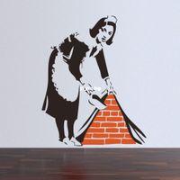 murais de parede para casa venda por atacado-46 * 57 CM Banksy Maid Em Londres Wall Sticker Início Art Decor para casa mural papel de parede arte da parede do Decalque
