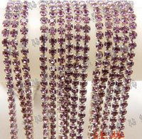 Wholesale Ss6 Diamond - New Arrive 10yards lot Full drill 2 mm color crystal diamond chain DIY materials SS6 encryption claw chain decoration essential