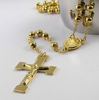 ingrosso branelli rosari rotondi-Alta qualità non tramonterà mai placcato oro rosario buddista collana in oro croce crocifisso perline catena 28 + 4.5