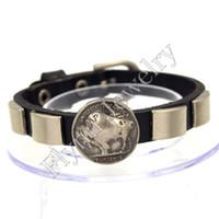 ingrosso braccialetto quadrato cerchio-Accessori per il cerchio quadrato Cinturino in pelle regolabile Braccialetto di fascino regolabile Braccialetto Punk Rock Decorazioni Amuleto Gioielli 10Pz