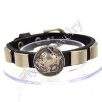 kreis quadratischen armband groihandel-Square Circle Zubehör Uhrenarmband Design Einstellbare Lederarmband Bangle Punk Rock Dekorationen Amulett Schmuck 10 Stücke