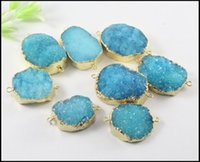 Wholesale blue agate druzy beads - 5pcs Gold plated Nature Druzy Crystal stone Connector in Sky Blue color,Quartz Drusy gemstone Connector Pendant Beads Jewelry Findings