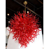 Wholesale hanging chandelier wedding for sale - Longree Red Hand Blown Glass Hanging LED Decorative European Style Chihuly Chandelier concrete pendant lamp for Wedding