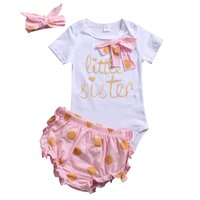 Wholesale Little Girl Cute Outfits - 3PCS Newborn Sweet Baby Clothes Kids Girls Little Sister Bowknot Romper Dots Shorts Headband Suits Set Ruffle 2017 Summer Top Outfits 0-2T