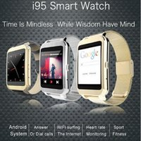 i95 Android 4.3 Smart Watch Xburst 1.2Ghz 300Mhz Dual Core Bluetooth WIFI Condividi 50mm * 38 * 10.8MM 380mAh 320 * 320 pixel
