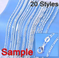 "Wholesale Sterling Silver Set Mixed Order - Wholesale-Jewelry Sample Order 20Pcs Mix 20 Styles 18"" 925 Silver Link Necklace Set Chains+Lobster Clasps 925 Tag"