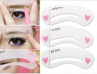Wholesale Free Card Making - Eyebrow stencils 3 styles reusable eyebrow drawing guide card 3pcs setbrow template DIY make up tools free shipping DHL 60095