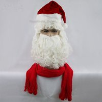 Wholesale Wizard Deluxe - Deluxe Santa Wig and Beard Set White Santa Fancy Dress Costume Wizard Cosplay Merry Christmas New Year Halloween
