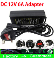 Wholesale 12v Transformer Au - 100% 6A 72W Led Transformers Adapter Switch Charge Power Supply For DC 12V Led Strip Lights 12V With 1.2m Cable EU AU UK US Plug Via DHL