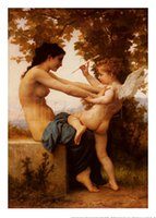 Wholesale Handpainted High Quality Bouguereau Paint - oil painting,Girl Defending Herself Against Love by William Adolphe Bouguereau art Canvas,High quality,Hand-painted