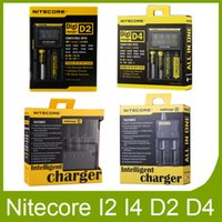 Wholesale E Cig Battery Displays - Original New Nitecore I2 I4 I8 D2 D4 Universal Intellicharger LCD Display E Cig Charger for genuine 18650 18350 18500 14500 Battery