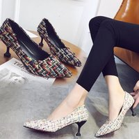 Wholesale medium documentary - Free shipping 2018 new fashion high-heeled shoe do Gewen in documentary shoe cusp stiletto heels shallow mouth shoes size 34~40
