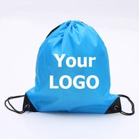 Wholesale Promotions Marketing - Customize Drawstring Polyester Tote bags Logo print advertising waterproof Backpack folding bags Marketing Promotion Gift shopping bags