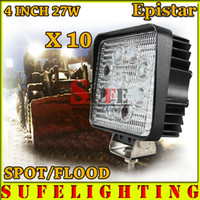 10PCS 4inch 27W LED Work Light 4X4 Spot Flood Lamp Motocyclette Tractor Truck Trailer SUV Offroad Boat Driving 4WD 24W