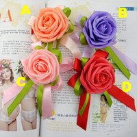 Wholesale Silk Flower Corsage Brooches - 2015 Beautiful Pink Red Champagne Purple Flower Corsage With Brooch Pin For Wedding Bridal Groom Supplies free shipping