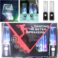 Wholesale Water Iphone Speakers - Dancing Water Speaker Music Audio 3.5MM Player for Iphone 4 5 6s samsung LED Light 2 in 1 USB mini Colorful Water-drop Show for Laptop PSP