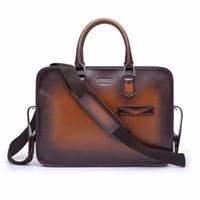 TERSE Brand 2018 New Luxury Men s Briefcase Handmade Genuine Leather Men s  Bag Business Leather Handbag Customize logo TS9556 148f25f3c1c81