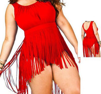 Wholesale bikini skirt sets - Sexy Women Plus Size Fringe Tassel Tankini Set Swimsuit Skirt women sexy Padded Tops High Waist Bikini Swimwear bath suit summer Apparel