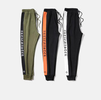 Wholesale Taper Pants Man - new fashion mens blackletter track pants 3 colors side stripe tapered retro gothic old English sport sweatpants skinny joggers
