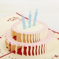 pop up tarjetas de pastel al por mayor-Feliz cumpleaños pastel hecho a mano creativo cumpleaños POP POP tarjetas de regalo de saludo con recorte de mariposa envío gratuito (juego de 10)