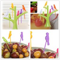 Gros-HOT 2015 New Vaisselle Vaisselle Sets Creative Arbre + Oiseaux Plastique Design Fruit Forks 1 Stand + 6 Forks Hot Sale légumes Fork