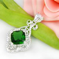 Wholesale Gemstone Jewelry Peridot - Half Dozen 6PCS LOT Square Crystal Peridot Gemstone 925 Sterling Silver USA Israel Wedding Pendant Weddings Jewelry
