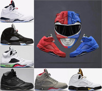 Wholesale Mens Cream Suits - 2018 Mens 5 5s Basketball Shoes Blue Red Suede Flight Suit Premium Pinnacle Triple Black Camo Cement white sports Sneakers US 8-13