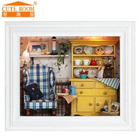 Wholesale Wholesale Miniature Frames - Wholesale- 2016 Sale New Home Decoration Crafts Diy Doll House Wooden Houses Miniature Dollhouse Furniture Kit Room Led Lights Photo Frame