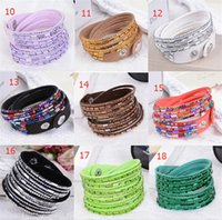 Wholesale Rhinestone Plastic Bracelets - 21 different colors Rhinestone women bracelets Charm Bling PU leather wristband Diamond crystal Luxury jewelry wrap bracelet bangle