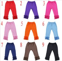 Wholesale Girls Ruffle Tights - DHL Free Ship 2016 Baby Girls Cotton Ruffles Leggings Pants tight Toddlers Children Baby Kids Ruffle Leggings With Ruffled kids clothes 1-7Y