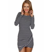 Wholesale Dress Horizontal Stripes - 2015 New Fashion Women Sexy Horizontal Stripe Mini Dress Asymmetric Hem O-Neck Long Sleeve Dress Hot Sale