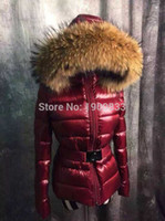 Wholesale Red Coat Hood Women - M19 Parka Women Jackets Luxury Mon Brand Down Jackets Anorak Women Coats Thickening Female Clothes Real Raccoon Fur Collar Hood