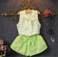 Wholesale white mandarin suit - Summer girl fashion clothes suit white shirt+short pants 2 pieces kids popular bowknot clothing for 1~7Y 5 s l