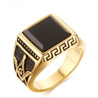 LUZO Jewelry Uomo in acciaio inossidabile Vintage Black Onyx Freemason Masconic Ring Biker Symbol