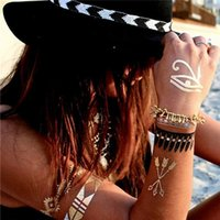 Wholesale Neck Wrist Ankle Cuffs - 21CM*15CM,gold silver metallic tattoos necklace bracelet flash jewelry tattoos Sparkle shine temporary tattoos chic chains cuff bands tat