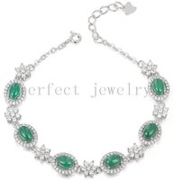 Wholesale Dh Jade - Chalcedony chain bracelet Natural real chalcedony green jade 925 sterling silver Perfect Jewelry Free shipping #DH-1562901