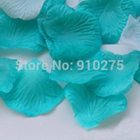 Wholesale Teal Blue Party Decorations - Wholesale-1000pcs lot Teal Blue Silk Rose Petals Artificial Flower Petals Confetti Wedding Table Decoration Party Supplies