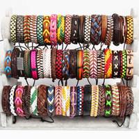 Wholesale Surfer Leather Bracelet Wristband - Handmade Men's Women's Multicolor Surfer Vintage Genuine Leather Cuff Wristband Fashion Bracelets Jewelry