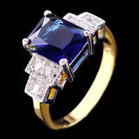 Wholesale Three Stone Channel White Plated - Size8 9 jewellery blue sapphire lady's 10KT white Gold Filled Ring 1pc free shipping
