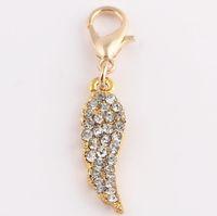 los amuletos del ala cuelgan al por mayor-Comercio al por mayor 20 unids / lote (oro, plata para Choise) Crystal Angel Wing cuelga encantos colgante Fit para flotante Locket fabricación de joyas