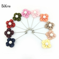 Wholesale Brass Christmas Ornaments - BoYuTe 10Pcs High Quality Fabric Flower Brooch Wholesale 10 Colors Handmade Lapel Pin for Men Wedding Jewelry Fashion Christmas Ornament
