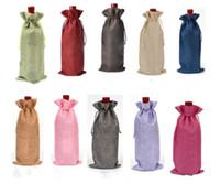 bolsa para o jantar de casamento venda por atacado-Garrafa De Vinho De juta Cobre Sacos de Presente de Embalagem de Vinho Rústico de Champanhe Rústico Hessian Natal Mesa de Jantar De Casamento Decorar 16x36 cm